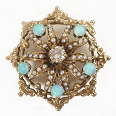 Starburst 14k Gold Diamond Seed Pearl Opal Brooch Pin Pendant