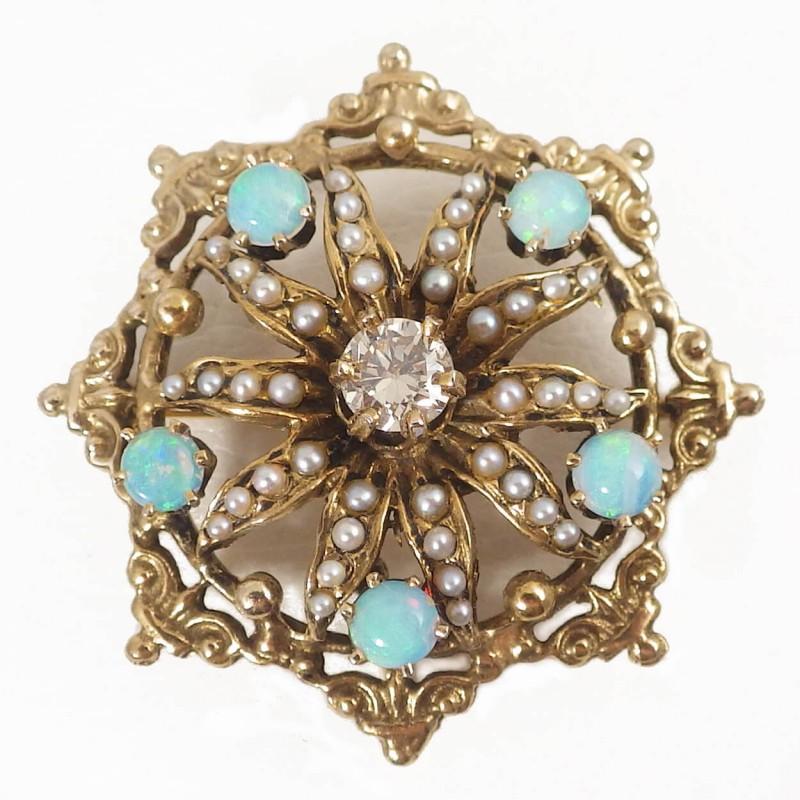 50e2aec16ab04 Starburst 14k Gold Diamond Seed Pearl Opal Brooch Pin Pendant