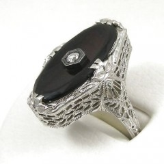 Womens Vintage Black Onyx Ring with Diamond - 18k White Gold Art Deco