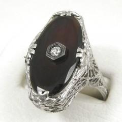 Womens Vintage Black Onyx Ring with Diamond - 18k White Gold Art Deco