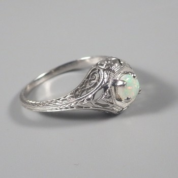 Opal Edwardian Platinum Antique Ring with Pierced Openwork - Engagement Ring