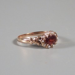 Vintage 10k Rose Gold Garnet Ring with Seed Pearls