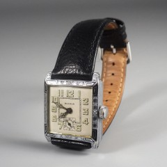 1927 Vintage Bulova Mens Watch Franklin Art Deco Radium Dial 14k WGF 15J