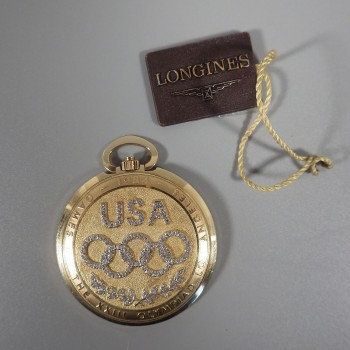 1984 Olympics 14k Longines Gold Pocket Watch - Mens Limited Edition